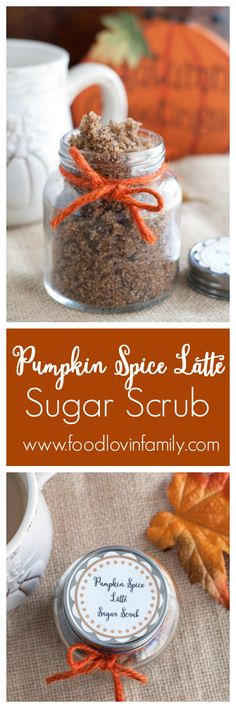 this Pumpkin Spice Latte Sugar Scrub to celebrate autumn! This beauty tutorial is an easy DIY made with coffee grounds.Make this Pumpkin Spice Latte Sugar Scrub to celebrate autumn! This beauty tutorial is an easy DIY made with coffee grounds. Sugar Scrub Recipe, Sugar Scrub Diy, Sugar Scrubs, Salt Scrubs, Diy Body Scrub, Diy Scrub, Homemade Scrub, Homemade Gifts, Diy Gifts