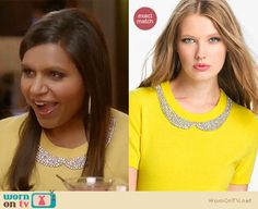 Mindy's yellow sweater with embellished collar, tweed speckled coat and studded clutch on The Mindy Project.  Outfit details: http://wornontv.net/12869/