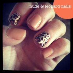 nude & leopard nails - Click image to find more Women's Fashion Pinterest pins