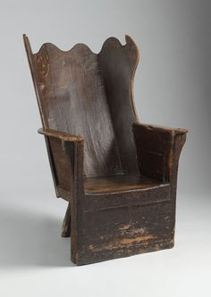 Rare Sculptural Wing Back Shepherd's Chair. c. 1770 ~♥~