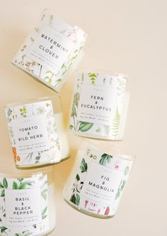 Our signature collection of botanically blended candles beautifully burn with a wooden wick and a strongly scented soy wax blend. In an array of scents from floral to aquatic, they burn bright for 80 hours.Cotton & neroli: orange blossom / cotton flower / cedar Citrus & oakmoss: oak moss / amber / sage / lavender / orange Watermint & clover: aquatic floral / aloe / citrus / jasmine Fern & eucalyptus: eucalyptus / peppermint / ginger / thyme / amber Fig & magnolia: green fig / Candle Branding, Candle Packaging, Candle Labels, Tea Packaging, Packaging Ideas, Beauty Packaging, Packaging Design, Wood Wick Candles, Diy Candles