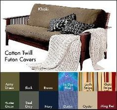 @Overstock - This soft cotton futon cover will protect your futon for general wear and tear as well as give it a stylish, modern makeover! In a variety of different colors, this machine washable futon cover features a quick-zip closure for easy fitting/removal. http://www.overstock.com/Home-Garden/Brushed-Cotton-Twill-Futon-Cover/4128793/product.html?CID=214117 $39.99