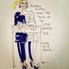 A sketch of Hillary Clinton presenting at this year's CFDA Awards thanks to instagram user @blankstareblink