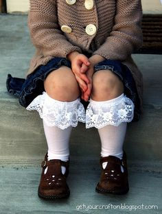Socks with lace frills! All American Girl, Girly Girls, Tight Leggings, Tights, Feminine, Socks, Dreams, Boutique, Future