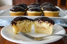 boston cream cupcakes, totally from scratch (other recipes I've seen have used box pudding mix, gross!!)