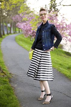I like the combination of stripes with plain. The outfit benefits from the vest, but I probably wouldn't wear denim. Like the shoes, but not the bag.