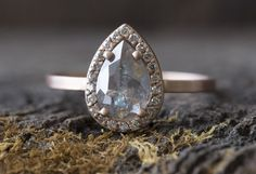 Custom Natural Rose-Cut Silver-Grey Diamond Engagement Ring