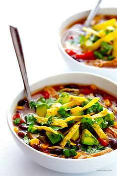 This Slow Cooker Chicken Tortilla Soup recipe is super-easy to make in the crock pot, it's naturally gluten-free, and full of the BEST flavors!