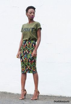 love t-shirts with skirts & heels!