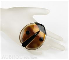 Lea Stein Lady Bug Brooch Pin Pearly Caramel Black Mannequin