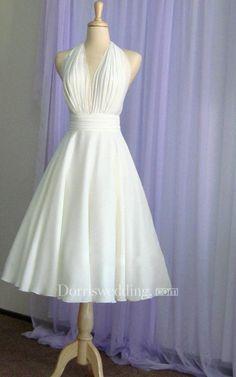 161a9e50b218 Halter Tea Length A-Line Chiffon Dress With Pleated Bodice Tea Length Wedding  Dress,