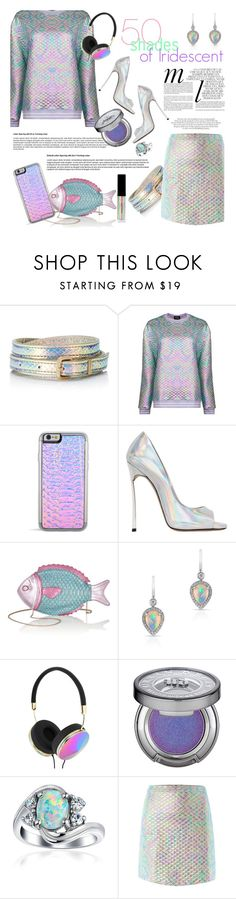 """Shades of Iridescent"" by alexandrazeres ❤ liked on Polyvore featuring Juicy Couture, Jaded, Casadei, Charlotte Olympia, Frends, Urban Decay, Inglot, Whiteley, Bling Jewelry and rainbow"