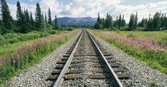 Visão do horizonte na estrada de ferro do Alasca, a maior linha férrea do Estado pertencente aos EUA, com cerca de 800 km. A construção da ferrovia  teve início em 1903. Atualmente ela liga a cidade de Seward à Fairbanks