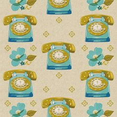 Ruby Star Sparkle Telephones in Natural by Melody Miller for Kokka, Cotton/Linen, 1/2 Yard. $10.50, via Etsy.