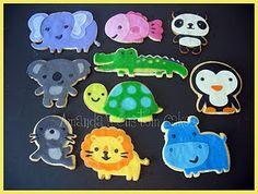 Cricut cake - zoo animal cookies