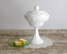 Vintage Milk Glass Pedestal Compote, Indiana Colony Harvest Milk Glass, Compote with Lid, White Milk
