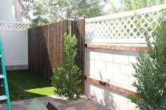 Bamboo fencing as inexpensive DIY or paid option to cover ugly cinder block wall, via cody cakes: our back yard project