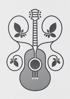Guitar Logo Design. Interesting flower engraving effect around it.#Repin By:Pinterest++ for iPad#