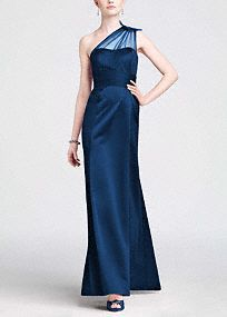 Be drop dead gorgeous in this stunning satin Bridesmaid's dress!  One shoulder bodice features sparkling sheer eye-catching beaded detail.   Empire band cinches waist creating a flattering silhouette sure to please.  Long satin skirt is elegant and timeless.  Fully lined. Back zip. Imported polyester. Dry clean.