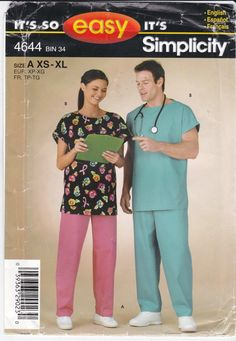 Misses' and Men's Medical Uniform Top and Drawstring by Ziatacraft