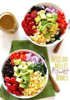 Mexican Millet Power Bowls with Chipotle Lime Vinaigrette. EASY to make. Bursting with fresh veggies and flavor! Vegan/Gluten Free | robustrecipes.com