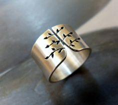 Tavaszi fa ezüst gyűrű (széles, szatén) , Sempervivum, meska.hu