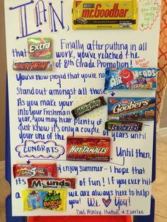 Middle School/Jr. High Graduation Candy Gram. What a fun and creative way to give your child a card for their 8th grade promotion.