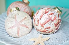 Mod Podge DIY Christmas Ornaments - Coastal Chritmas Decor