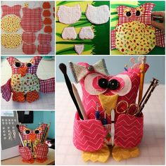 Make this owl sewing buddy to sit next to your machine holding all your scissors and tools safely~~♥ #diy #crafts #owl
