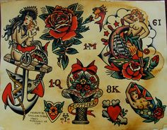 Sailor Jerry Pinup Tattoo Flash Painting by ChristinaPlatis with black hair instead, and maybe in a dress. Description from pinterest.com. I searched for this on bing.com/images