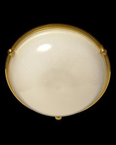 Marvin Alexander, Inc. Gilded bronze and ribbed glass flushmount, four lights