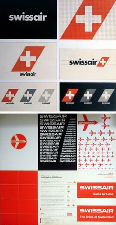 The Evolution of the Swissair Logo    like how strait edge it all is, but also feels like it's really old, which it is;)