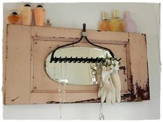 sweet layered repurposing - old door, mirror and rake - by A Southern Belle with Northern Roots