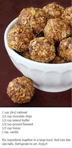 no bake energy bites - recipe doesn't make much so roll them small.  I used a tablespoon.