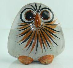 Large Vintage Mexican Owl and Bird Tonala Design Folk Art Pottery x Clay Birds, Ceramic Birds, Painted Rocks, Hand Painted, Mexican Ceramics, Vintage Owl, Pottery Art, Folk Art, Rock Painting