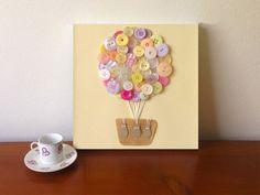 For SA: Button Art  Hot Air Balloon Nursery Decor   3D Art  by quebee, $20.00