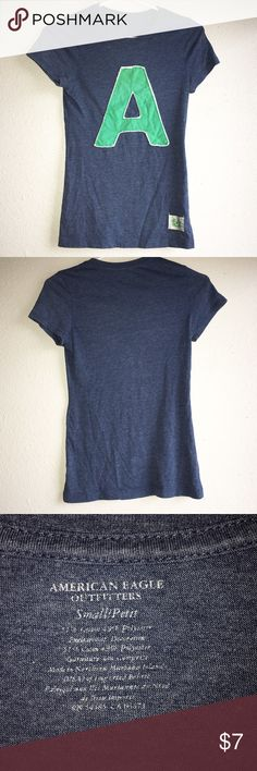 Short sleeve navy blue tank top with A graphic Hardly worn American Eagle shirt. Super soft material excellent condition! American Eagle Outfitters Tops Tees - Short Sleeve