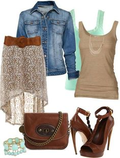 Cute outfit! Tan tank top with tan and green flowy high-low skirt and jean jacket