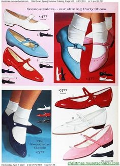 1966 Sears Spring Summer Catalog, Page 302 - Christmas Catalogs & Holiday Wishbooks 50s Shoes, Retro Shoes, Vintage Shoes, Vintage Accessories, 1960s Fashion, Girl Fashion, Vintage Fashion, Womens Fashion, Outfit Vintage