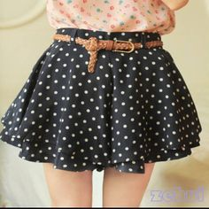 Navy Polka Dot Chiffon Short Mini Skirtskort Small Navy with white dots. Belt not included. Dresses