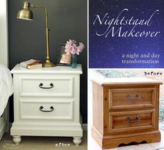 Updating a Nightstand {Lowe's Creative Idea}.  Redo Night Stands In Master. Baseboard and feet at Home Depot!!!