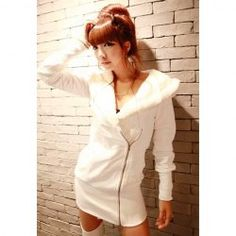 $10.78 Casual Style V-Neck Big Plush Hooded Long Sleeve Cotton Fleece Hoodie For Women