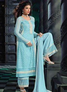 Blue Embroidery Work Print Georgette Palazzo Salwar Kameez http//www.angelnx.com/Salwar-Kameez ...