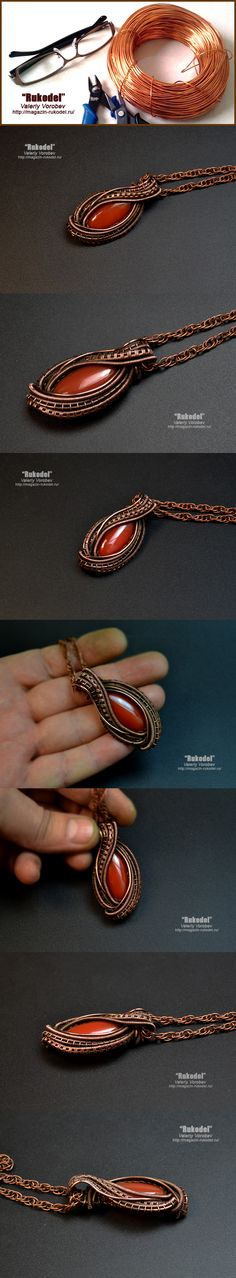 Wire wrapped jewelry Wire Wrapped Pendant - 55 x 27 mm Natural agate - 30 x 15 mm Сopper wire  The copper part of the pendant is patinated and polished to give it a vintage look.
