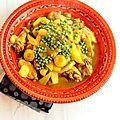Tajine de poulet aux olives, carottes, pommes de terre et petits pois
