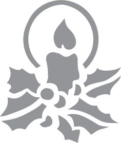 Glass etching stencil of Candle and Holly. In category: Christmas, Plants