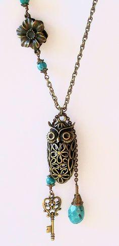 Owl necklace, Modern Vintage Natural Turquoise Owl Necklace. $47.00, via Etsy.
