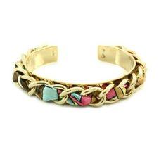 Poshlocket - Jenny Fabric Weave Cuff in Gold/PinkBeige Poshlocket. $26.00