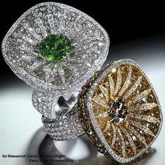 Fancy diamonds and white diamond and green garnet rings