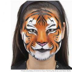 Small School girl make the simple tiger face painting. She using MAC color shades and applying the simple tiger face makeup. Animal Face Paintings, Animal Faces, Body Paintings, Easy Face Painting Designs, Face Painting Tutorials, Painting Patterns, Tiger Face Paints, Tiger Face Paint Easy, Wolf Face Paint